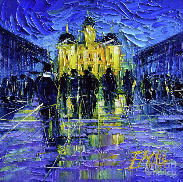 Wall Art - Painting - Festival Of Lights In Lyon France - Miniature Palette Knife Oil Painting by Mona Edulesco