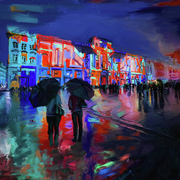 Wall Art - Painting - Festival Of Lights Lyon 1 258 3 by Mawra Tahreem