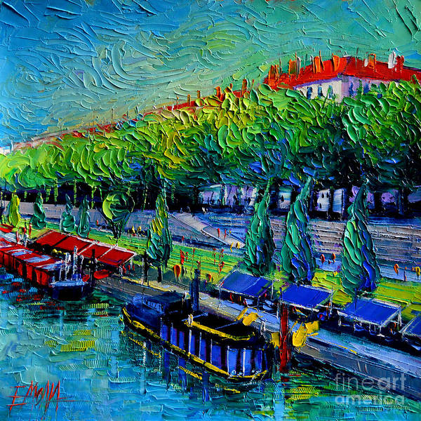 Paysage Wall Art - Painting - Festive Barges On The Rhone River by Mona Edulesco