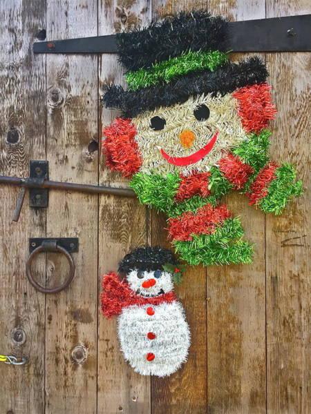 Ear Muffs Photograph - Festive Christmas Snowmen by Denise Mazzocco