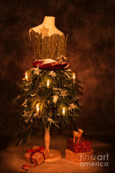 Dress Form Photograph - Festive Christmas Vintage Mannequin by Amanda Elwell