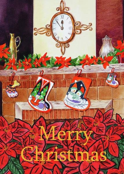 Painting - Festive Merry Christmas Card by Irina Sztukowski