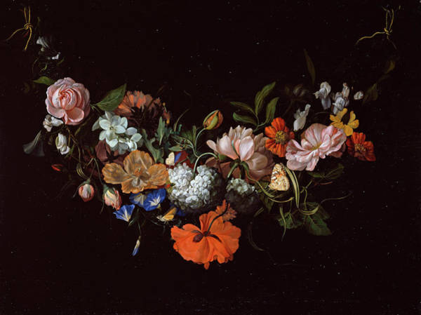 Wall Art - Painting - Festoon With Flowers by Rachel Ruysch