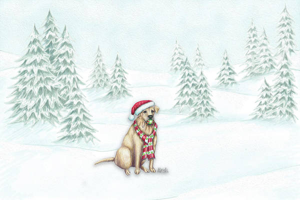 Yellow Lab Mixed Media - Fetch The Ornament by Heidi Thompson