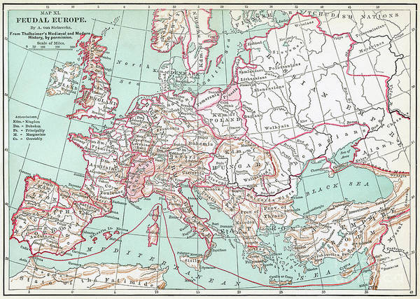 Wall Art - Drawing - Feudal Europe Map.  by Granger