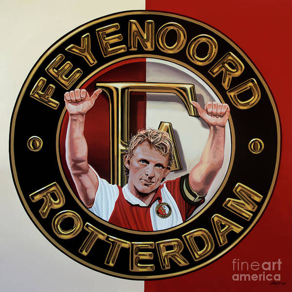 Stadium Painting - Feyenoord Rotterdam Painting by Paul Meijering