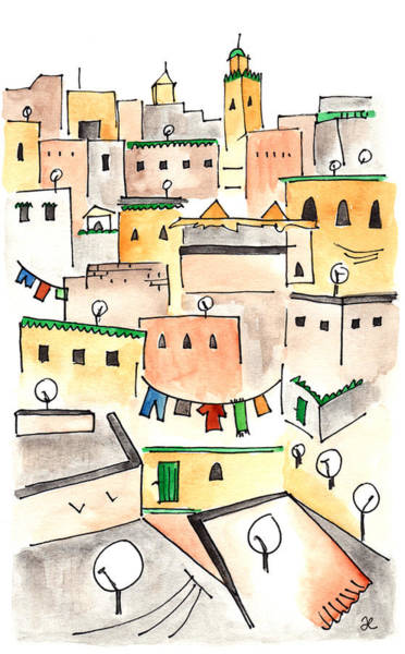 Painting - Fez Skyline 2 by Anna Elkins