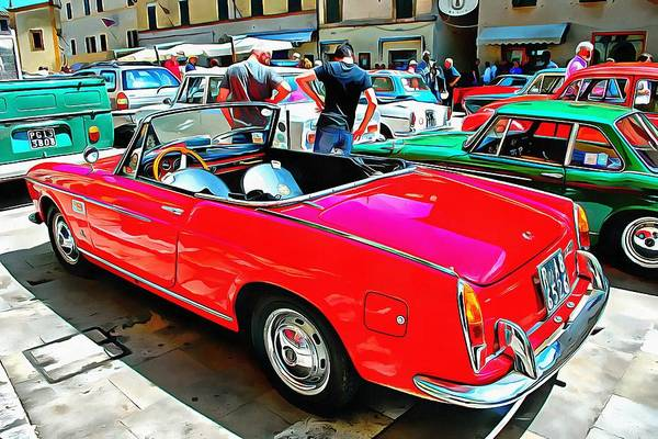 Photograph - Fiat 1500 Cabriolet Red Version Rear View by Dorothy Berry-Lound