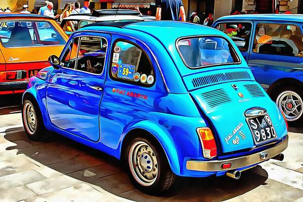 Photograph - Fiat 500 Abarth Blue Version Rear View by Dorothy Berry-Lound