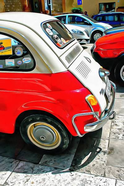 Photograph - Fiat 500l Red And White Version Rear View by Dorothy Berry-Lound