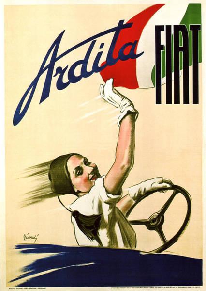 Art Nouveau Mixed Media - Fiat Ardita - Italian Car - Vintage Advertising Poster by Studio Grafiikka