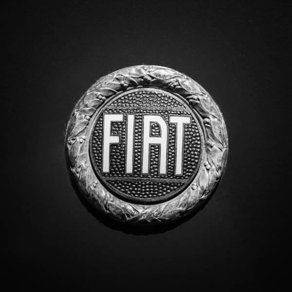 Wall Art - Photograph - Fiat Emblem -1621bw by Jill Reger