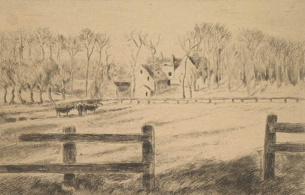 Relief - Field And Mill At Osny  by Camille Pissarro