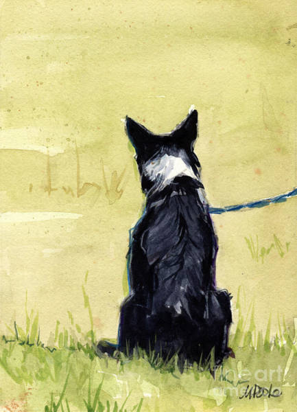 Border Collie Painting - Field Greens by Molly Poole