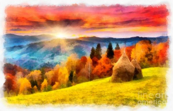 Field Of Autumn Haze Painting Art Print