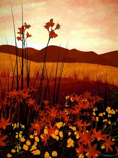 Warm Digital Art - Field Of Flowers by Cynthia Decker