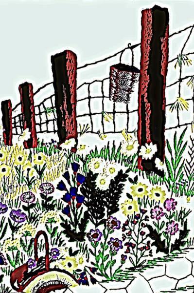 Fence Post Digital Art - Field Of Flowers by Sheri Buchheit