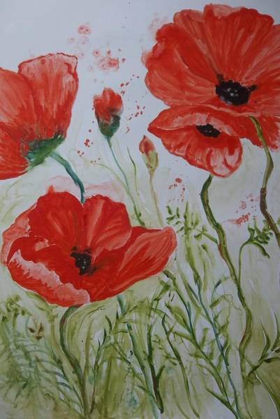 Painting - Field Of Poppies by Audrey Bunchkowski