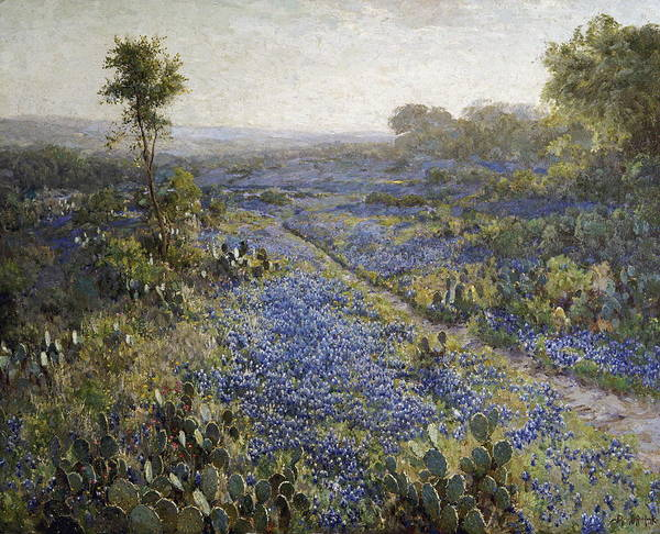 Wall Art - Painting - Field Of Texas Bluebonnets And Prickly Pear Cacti by Julian Onderdonk