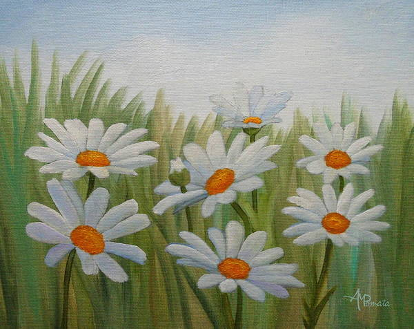 Painting - Field Of White Daisies by Angeles M Pomata