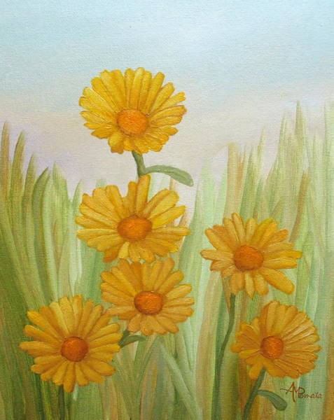 Painting - Field Of Yellow Daisies by Angeles M Pomata