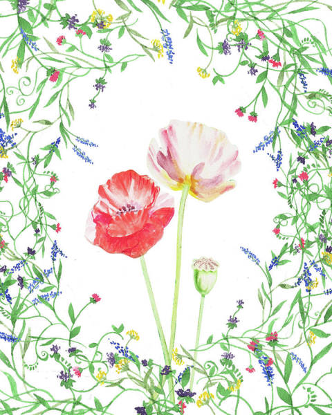 Painting - Field Poppies And Wildflowers Watercolor  by Irina Sztukowski