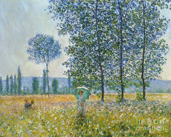 Parasol Painting - Fields In Spring, 1887 by Claude Monet