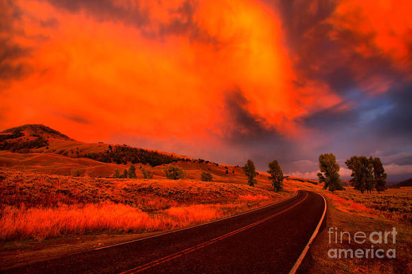 Photograph - Fiery Clouds Over Lamar Valley by Adam Jewell