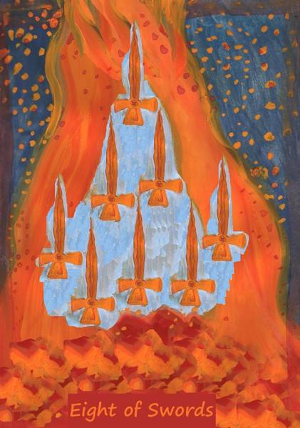 Flaming Sword Painting - Fiery Eight Of Swords by Sushila Burgess