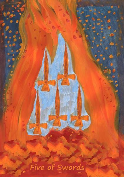 Flaming Sword Painting - Fiery Five Of Swords by Sushila Burgess