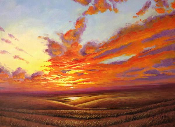 Painting - Fiery Flint Hills Sky by Rod Seel