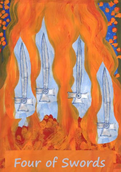 Flaming Sword Painting - Fiery Four Of Swords by Sushila Burgess
