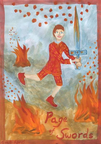 Flaming Sword Painting - Fiery Page Of Swords by Sushila Burgess