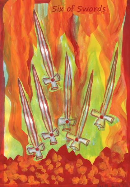 Flaming Sword Painting - Fiery Six Of Swords by Sushila Burgess