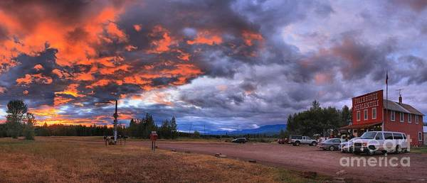 Photograph - Fiery Skies Over The Polebridge Marcantile by Adam Jewell