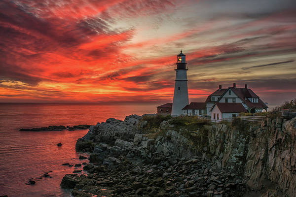 Photograph - Fiery Sunrise At Portland Head Light by Jesse MacDonald