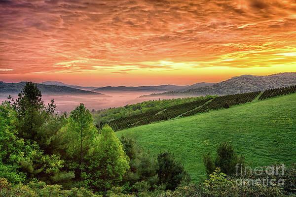 Wall Art - Photograph - Fiery Sunrise In The Blue Ridge by Dan Carmichael