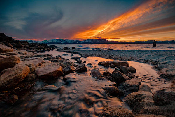 Herron Photograph - Fiery Sunset Flow At Lake Tahoe by Mike Herron