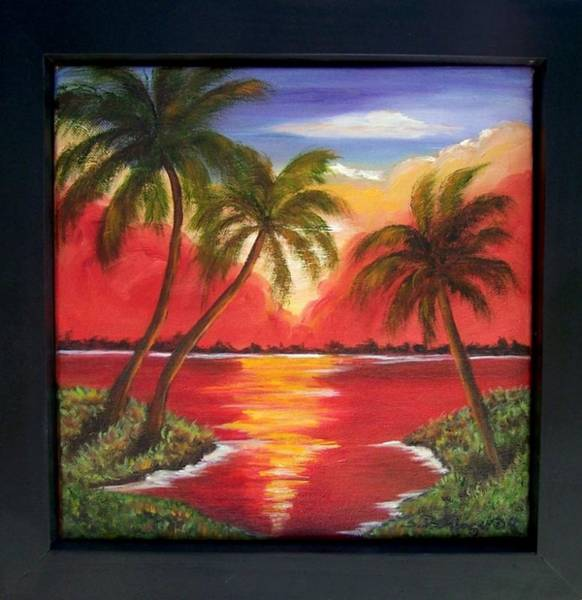 Painting - Fiery Sunset On The River........sold by Susan Dehlinger