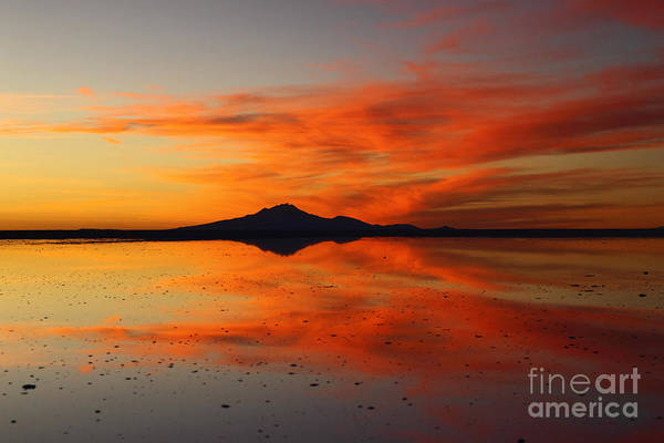 Photograph - Fiery Sunset Over Tunupa Volcano by James Brunker