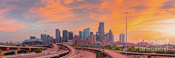 Photograph - Fiery Sunset Panorama Of Downtown Houston Skyline  by Silvio Ligutti