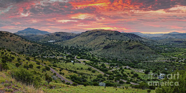 Wall Art - Photograph - Fiery Sunset Panorama Over Davis Mountains State Park - Keesey Canyon Blue Mountain Limpia Canyon - by Silvio Ligutti