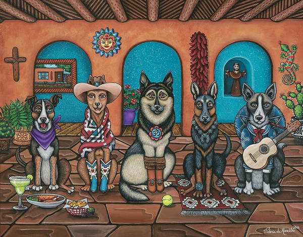 Folk Painting - Fiesta Dogs by Victoria De Almeida