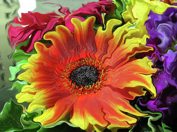 Liquify Photograph - Floral Fiesta by Kathy Moll