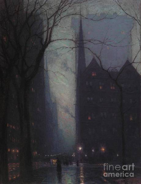 Urban Scene Painting - Fifth Avenue At Twilight by Lowell Birge Harrison