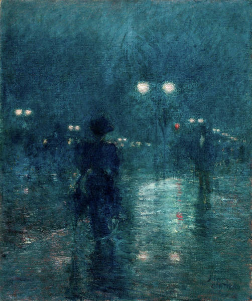 Avenue Painting - Fifth Avenue Nocturne, 1895 by Childe Hassam