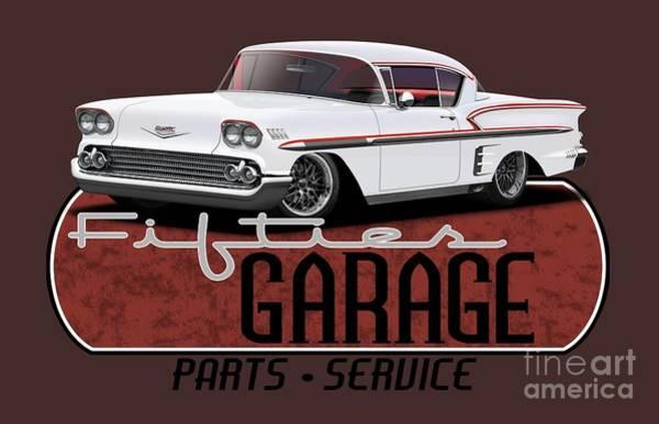 Wall Art - Digital Art - Fifties Hot Rod Garage by Paul Kuras