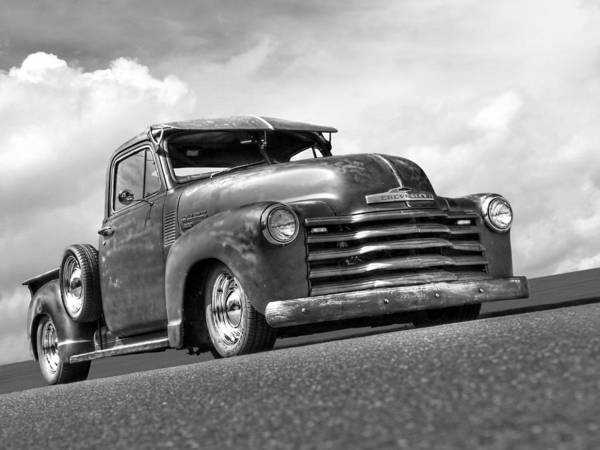 Photograph - Fifties Rust - 1951 Chevy In Black And White by Gill Billington