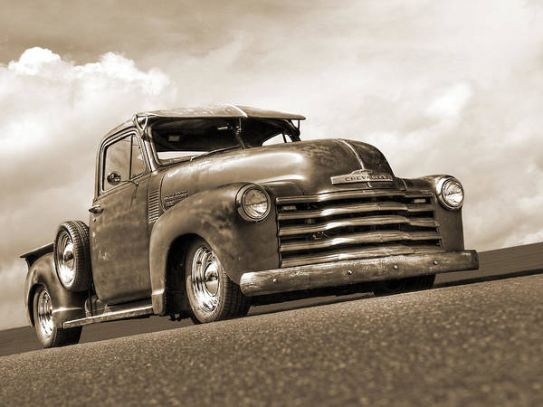 Photograph - Fifties Rust - 1951 Chevy In Sepia by Gill Billington