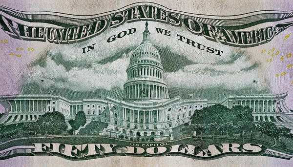 In God We Trust Photograph - Fifty Dollars - No Change  by Paul W Faust - Impressions of Light